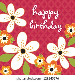 Raster Birthday Card template with white and orange flowers on vintage red background pattern. See my folio for vector version and for other colors.
