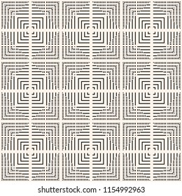 Raster black and white geometric seamless pattern. Monochrome texture with lines, squares, stripes, tiny elements, repeat tiles. Abstract graphic linear ornament. Modern background. Simply design