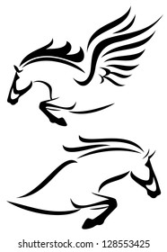 raster - black and white outlines of jumping horse and pegasus (vector version is available in my portfolio)
