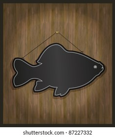 raster Blackboard fish restaurant menu card