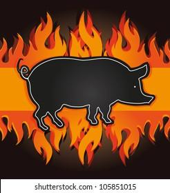 raster blackboard grill card pig fire board