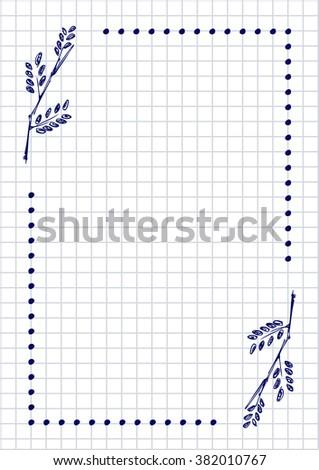 Raster blank letter greeting card checkered stock illustration raster blank for letter or greeting card checkered paper white squared form with hand m4hsunfo