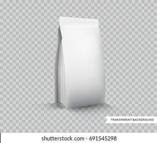 raster Blank White Foil Food Packaging llustration Isolated Mock Up Template Package Ready For Custom Design