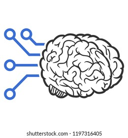 Raster brain computer interface illustration. An isolated illustration on a white background.