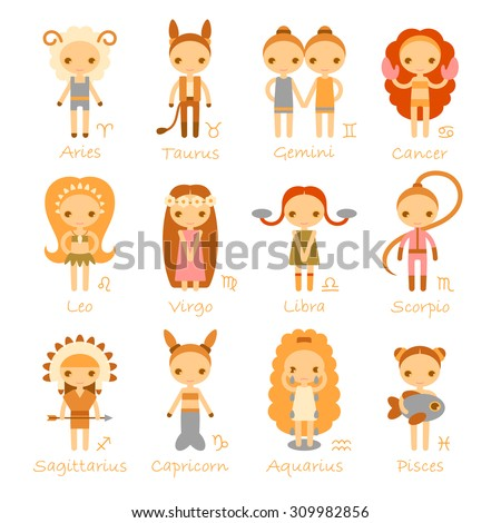 raster cartoon isolated zodiac signs ariesのイラスト素材 309982856