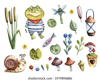 Raster children's watercolor illustration of a pond. Cute image of frogs, snails, mushrooms, dragonfly, leaves. Design elements, pictures for children's books, scrapbooking, stickers, postcards.