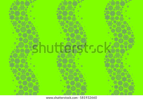 Raster Christmas party design template. Abstract Christmass illustration with snowflakes on a green background.