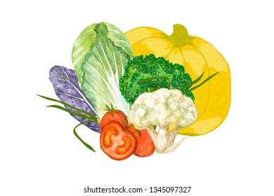 raster collage of digital and hand drawn vegetables solated on white.