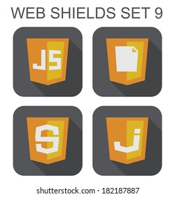 raster collection of  javascript web development shield signs: js, S letter, J letter, document. isolated icons on white background