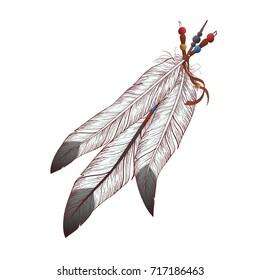Raster colorful illustration of feathers