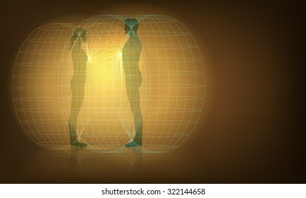 Raster Conceptual Illustration of Man and Woman Auras Interaction