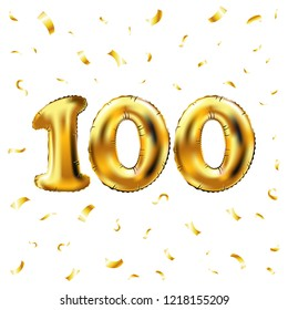 raster copy 100th celebration gold balloons and golden confetti glitters. 3d Illustration design for your greeting card, invitation and Celebration party of hundred 100 number white background art