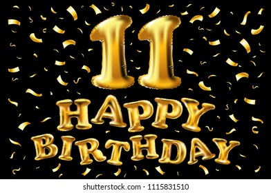 Raster Copy 11st Birthday Celebration With Gold Balloons Confetti Glitters 3d Illustration Design For