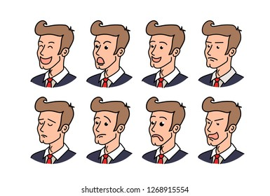 raster copy Big set of businessman emoticons. Man emojis showing different facial expressions. Happy, sad, smile, laugh, surprised, serious, angry, in love, sleepy and other emotions. Simple