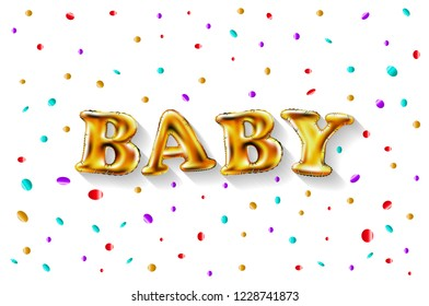 raster copy Gold letter baby balloons. Birthday gold characters balloons. For celebration, party, date, invitation, event card, happy Birthday. Shine glossy metallic balloons background. Baby shower