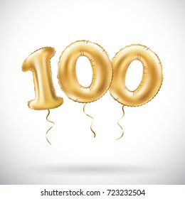 raster copy Golden number 100 hundred metallic balloon. Party decoration golden balloons. Anniversary sign for happy holiday, celebration, birthday, carnival, new year. art