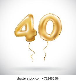 raster copy  Golden number 40 forty metallic balloon. Party decoration golden balloons. Anniversary sign for happy holiday, celebration, birthday, carnival, new year. art