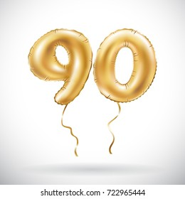 raster copy Golden number 90 ninety metallic balloon. Party decoration golden balloons. Anniversary sign for happy holiday, celebration, birthday, carnival, new year. art