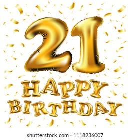 raster copy Golden number twenty one metallic balloon. Party decoration golden balloons. Anniversary sign for happy holiday, celebration, birthday, carnival, new year. 21 Metallic design balloon. art