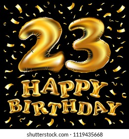 23rd birthday images stock photos vectors shutterstock raster copy happy birthday 23rd celebration with gold balloons and golden confetti glitters 3d illustration m4hsunfo