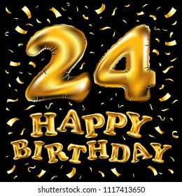 raster copy happy birthday 24rd celebration gold balloons and golden confetti glitters. 3d Illustration design for your greeting card, invitation and Celebration party of twenty four 24 years