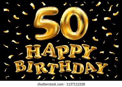 raster copy happy birthday 50th celebration gold balloons and golden confetti glitters. 3d Illustration design for your greeting card, invitation and Celebration party of fifty 50 years art