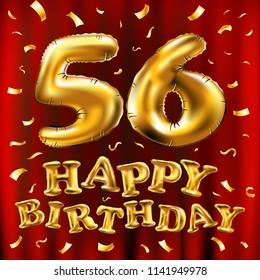 Raster Copy Happy Birthday 56th Celebration Gold Balloons And Golden Confetti Glitters 3d Illustration Design