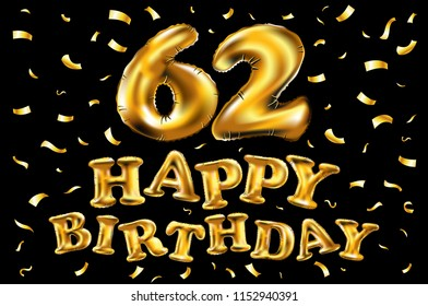 62nd birthday images stock photos vectors shutterstock raster copy happy birthday 62th celebration gold balloons and golden confetti glitters 3d illustration design m4hsunfo