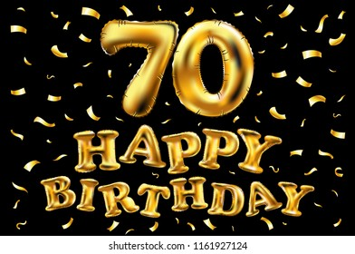 raster copy happy birthday 70th celebration gold balloons and golden confetti glitters. 3d Illustration design for your greeting card, invitation and Celebration party of seventy 70 years black