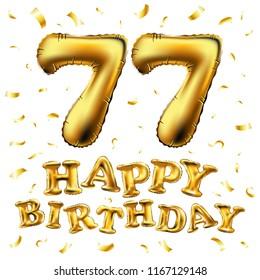 Raster Copy Happy Birthday 77th Celebration Gold Balloons And Golden Confetti Glitters 3d Illustration Design
