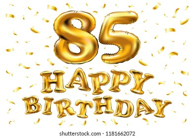 Raster Copy Happy Birthday 85th Celebration Gold Balloons And Golden Confetti Glitters 3d Illustration Design For