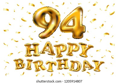 Raster Copy Happy Birthday 94th Celebration Gold Balloons And Golden Confetti Glitters 3d Illustration Design