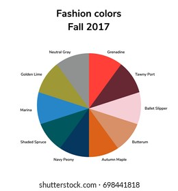 raster copy. illustration, infographics, trendy colors of the 2017 fall, grenadine, tawny port, ballet slipper, butterum, navy peony, neutral gray, shaded spruce, golden lime marina autumn maple
