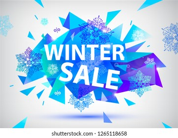 Raster copy sale facet crystal banner. 3d abstract shape poster, card, advertising. Blue color winter sale concept with snowflakes and ice, explosion. Christmas, new year offer