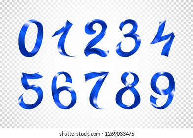 raster copy set of festive blue ribbon digits. iridescent gradient number geometric design on white background art