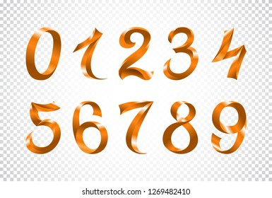 raster copy set of festive orange ribbon digits. iridescent gradient art