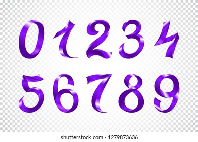 raster copy set of festive violet ribbon digits. purple iridescent gradient number geometric design on white background art