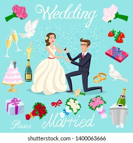 raster copy set wedding just married couple with hearts avatars characters. roses flowers champagne cake newlyweds pigeons gifts rings strawberry bow ice bubbles art