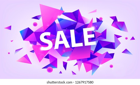 Raster copy shiny sale banner, promotion poster, discount. Facet 3d triangles illustration. Purple and pink trendy colors