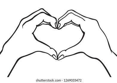 raster copy two hands making heart sign. Love, romantic relationship concept. Isolated illustration line style. art
