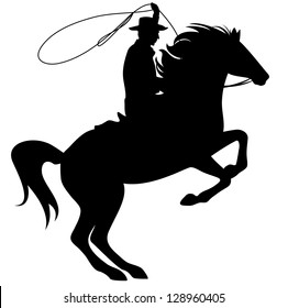 raster - cowboy throwing lasso riding rearing up horse - black silhouette over white  (vector version is available in my portfolio)