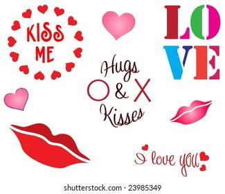 raster design elements for valentine's day