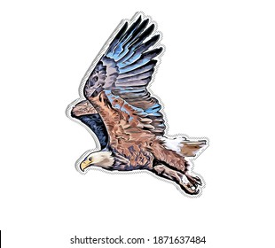 RASTER digital illustration of an eagle that can be used as a sticker or decal