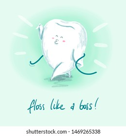 raster digital illustration of a small cool tooth flossing with a special dental thread.