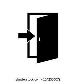 Raster door icon isolated on white background. Black door sign, symbol
