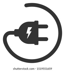 Raster electric adapter flat icon. Raster pictogram style is a flat symbol electric adapter icon on a white background.