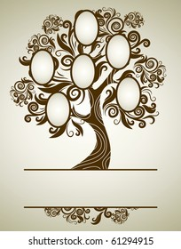RASTER family tree design with frames and autumn leafs. Place for text.