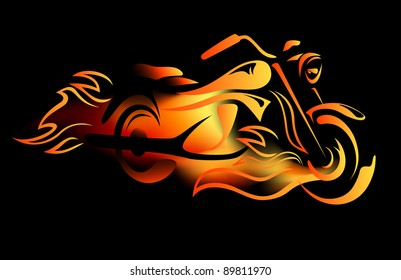 raster - fiery motorcycle illustration (vector version is available in my portfolio)