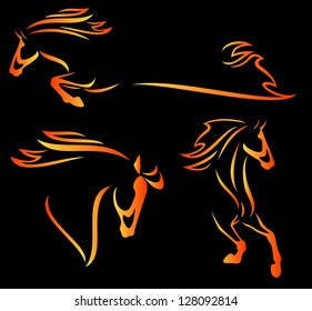 raster - fire horse design elements - speeding stallions outlines  (vector version is available in my portfolio)