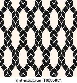 Raster fishnet seamless pattern. Black and white geometric nautical texture with mesh, net, weave, knitting, grid, lattice, fabric, ropes. Abstract monochrome background. Repeated decorative design